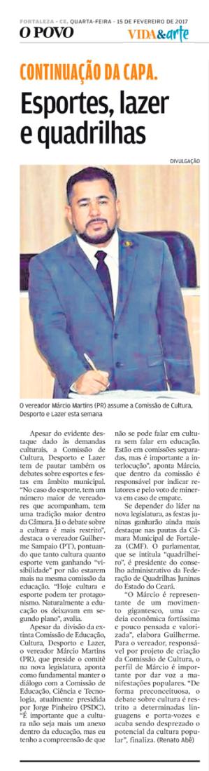"""Reprodução Fac-símila do caderno """"Vida e Arte"""" do Jornal O Povo, 15/02/2017."""