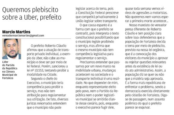 Artigo publicado no Jornal O Povo - Marcio Martins defende plebiscito sobre UBER.